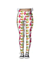 Pink Toucan And Leaves Yoga Pants Workout Running Yoga Leggings For Women Girls