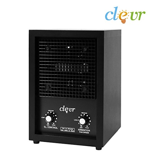 Clevr Wood Ozone Generator Home Ionic Ion & Ozone Air Purifier, Commercial Industrial O3 Odor Remover, with 2 Plates, Allergies allergen Reducer | 1 Year Limited Warranty