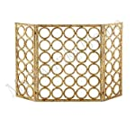 Gold Circles Iron Nailhead Fireplace Screen from Intelligent Design