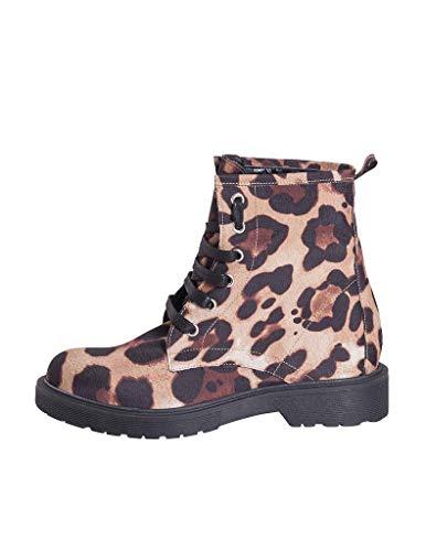 Muy Suela En Cómodo 38 Zapato Talla Leopardo 3 Con In Mujer Anfibios Tejido Negra Dtl Damas Italy Made Goma Moteado 77 Creaciones Taco De Estudio Cm Otoñal twF4B