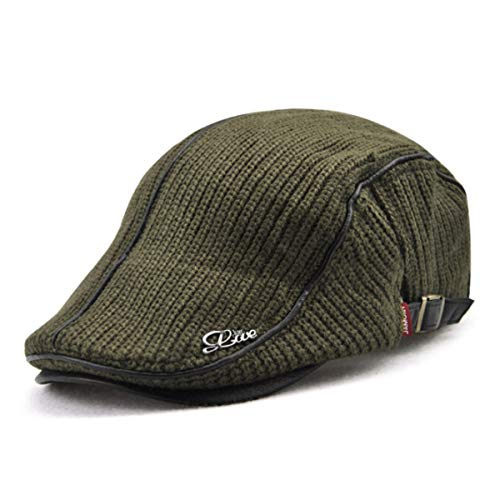 f968bb7559f DFSanaShanao Men s Cotton Newsboy Cap Flat Cap Winter Thick Warm Knit Wool  Hunting Hat Visors Scally Caps Driving Hat Beret for Men (Army Green) at  Amazon ...