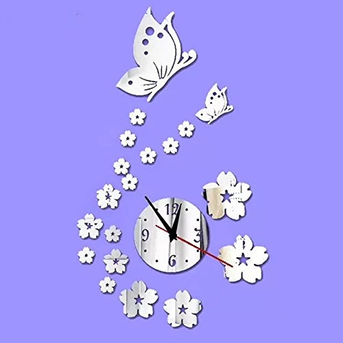 Alrens_DIY(TM)Silver Butterflies and Flowers Art Mordern Luxury Design Acrylic Non-ticking Silent Quartz Wall Clock DIY Removable 3D Crystal Mirror Wall Clock Wall Sticker Home Decor Art Living Room Bedroom Office Decoration by Alrens