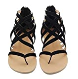 SUKULIS Flats Summer Women's Sandals New Fashion Casual Shoes For Woman European Rome Style Sandalias black 9.5