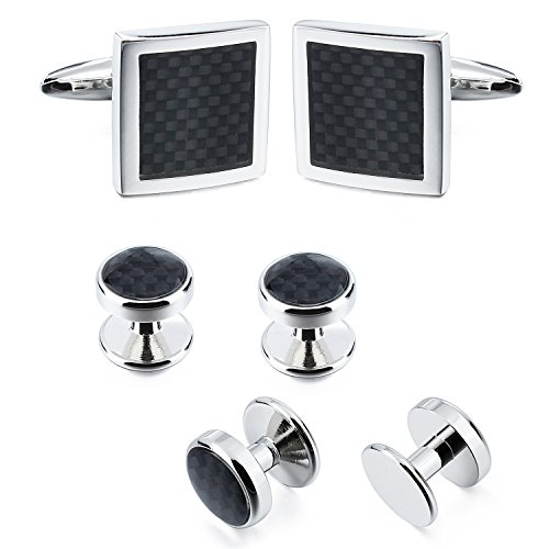 Black Carbon Fiber Cuff links and Dress Studs Set in Presention Box for Mens (Black Stud Cufflinks)