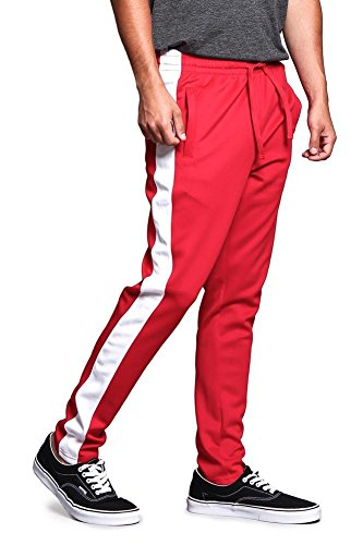 (Victorious Men's Regular Cuff Non-Ankle Zip Contrast Outer Side Stripe Slim Fit Stretch Drawstring Track Pants TR522 - Red/White - Large - S1C)