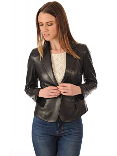 - Leather Image Women's Genuine Lambskin Leather Blazer Slim Fit Classic Leather Coat WB05 Medium Fits to Bust 32-33 inch Black