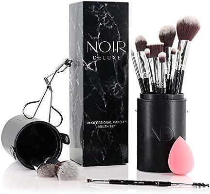 Noir Deluxe - Juego de pinceles y brochas de maquillaje profesionales con rizador de pestañas, esponja y estuche: Amazon.es: Belleza