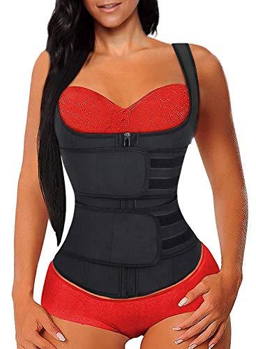 Lovezesent Women's Zipper Waist Trainer Weight Loss Corset Trimmer Belt Waist Cincher Slimming Body Shaper Sport Girdle