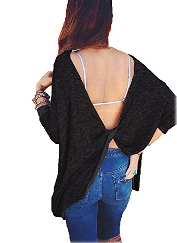 Choies Women's Black Twist Open Back Casual Long Sleeve Knit Loose Pullover T-Shirt (Open Twist)