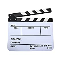 PhotoTrust Acrylic Dry Erase Director's Film Clapboard Cut Action Scene Clapper Board Slate with White/Black Sticks Built-in magnetic stripe (9.75 inch x12 inch) + PhotoTrust Microfiber Cleaning Cloth