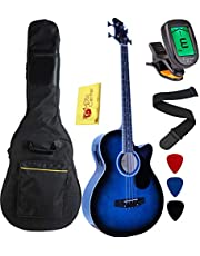 Vizcaya Full Size 4 Strings Cutaway Acoustic-Electric Bass Guitar With 4-Band Equalizer,5mm Padding Gig Bag,Strap, Picks