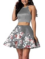 Momabridal Juniors Short Satin Two Piece Floral Homecoming Dresses Halter Beaded Prom Party Ball Gowns MMB010