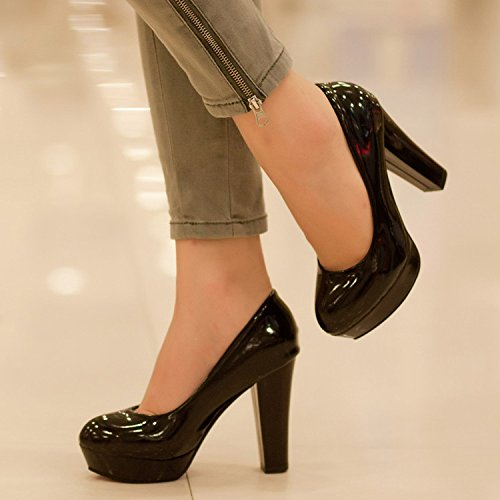 shoes Women's head Black thin platform Solid round color Waterproof Thick heeled high qnOfwn17x