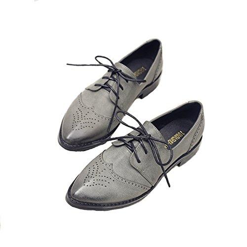 T-juli Damesschoenen Klassieke Oxfords - Wingtip Vintage Geperforeerde Neusvrije Neusschoentjes Grijs
