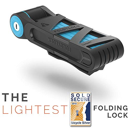 FOLDYLOCK Compact Bike Lock Blue | Extreme Bike Lock - Heavy Duty Bicycle Security Chain Lock Steel Bars| Carrying Case Included| Unfolds to 85cm / 33.5