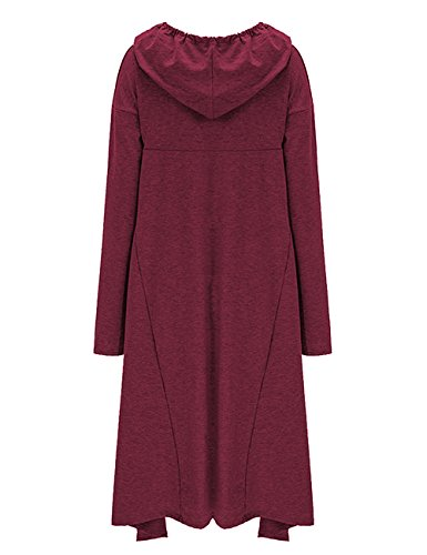 Shineya Women's Solid Color Pullover Hoodie Asymmetric Hem Sweatshirts Dress S-4XL Winered M