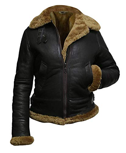 Womens B3 Bomber Aviator Pilot Hoodie Fur Shearling Sheepskin Leather Jacket Dark Brown