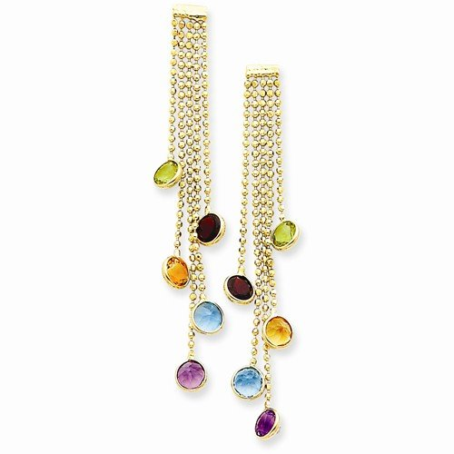 14k Multi Stone Dangle (Solid 14k Yellow Gold Multi Gemstone Dangle Earrings (52mm x 5mm))