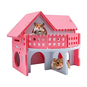 HYLYUN Wooden Hamster House – Assemble Wooden Small Animal Hideout Hut Play Toys Chews for Small Animals Like Dwarf…