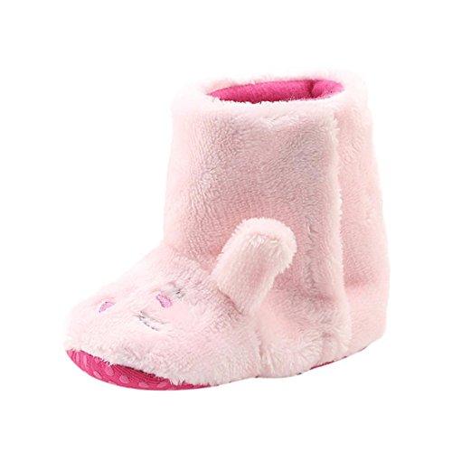 Babyschuhe Longra Kleinkind Baby Mädchen Jungen Warm Schneestiefel Sohlen Baumwolle Tier Hai Krippeschuhe Winter-Kleinkind Stiefel Warm Schuhe(0-18Monate) Pink