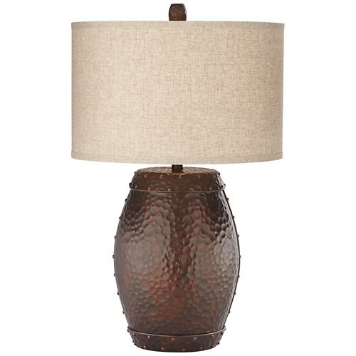 Pacific Coast Lighting Emory Faux Metal Barrel Table Lamp in Copper (Mission Lodge Furniture Living Room)