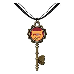 Chicforest Bronze Retro Style I Heart My Cat Key to Her Heart Pendant