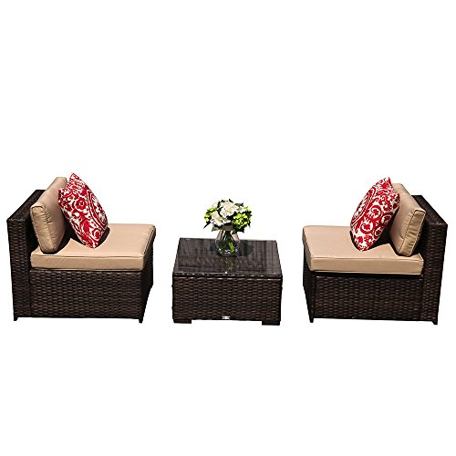 Super Patio 3 Piece Outdoor Furniture Conversation Set, All Weather Wicker Armless Sofa Chair Armless Chairs Glass Coffee Table, Steel Frame, Beige Cushions, Brown