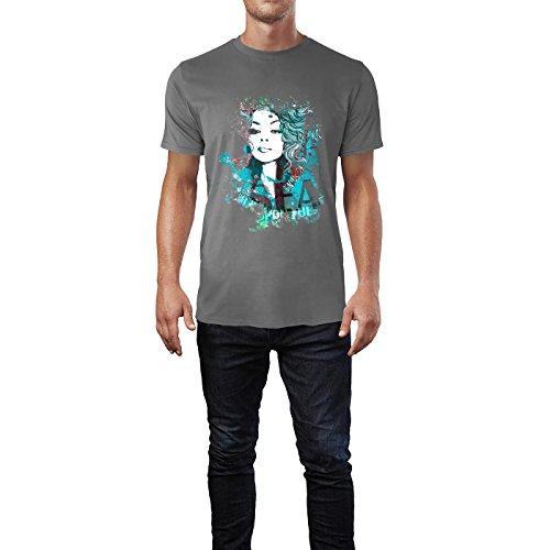 SINUS ART® Blaue Collage mit blauhaariger Frau Herren T-Shirts in Grau Charocoal Fun Shirt mit tollen Aufdruck