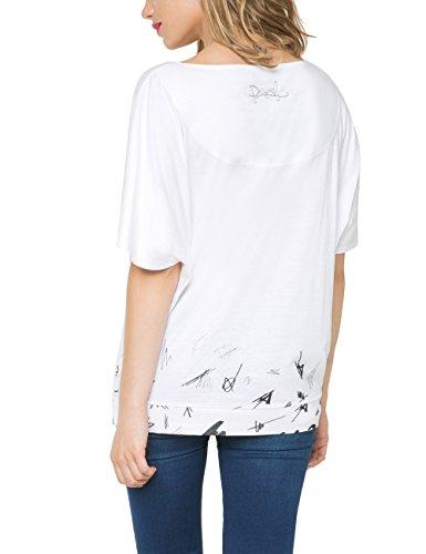 Desigual Domingo - Camiseta para mujer Blanco (Tiza 1010)