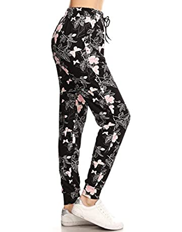 577ba997cd6872 Leggings Depot Women s Printed Solid Activewear Jogger Track Cuff  Sweatpants Inner Pockets