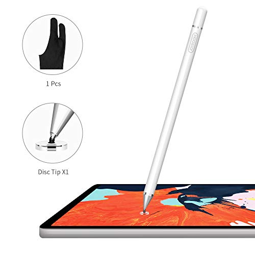 JOYROOM Capacitive Stylus Pen, Disc Fine Tip, High Sensitivity and Precision, with Replacement Tips, for Touch Screen Devices Tablet, Smartphone Apple iPad, iPhone, Samsung (White)