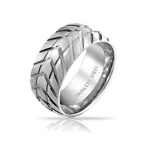 - Bling Jewelry Mens Mechanic Car Racer Tire Tread Band Rings for Men for Bikers Matte Brushed Silver Tone Stainless Steel 8mm