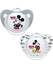 NUK Trendline fopspeen | 6-18 maanden | BPA-vrije siliconen fopspeen | Disney Mickey Mouse (grijs) | 2 stuks