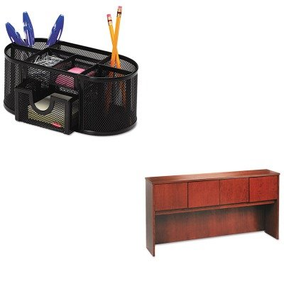 KITBSXBW2180HHROL1746466 - Value Kit - Basyx Wood Veneer Hutch With Wood Doors (BSXBW2180HH) and Rolodex Mesh Pencil Cup Organizer (ROL1746466) by Basyx