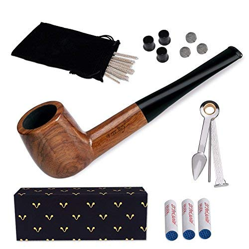 Tobacco Pipe Set, Free Boy Handmade Wooden Straight Stem Smoking Pipe with Accessories (Filter Elements, Filter Balls, 3 in 1 Scraper, Pipe Cleaners, Pipe Tip Grips, Bag, Gift Box)