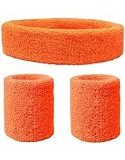 1 Fascia per la Testa + 2 Braccialetti Elastici Anti-Slip, per Polso, per Sport, Corsa, Calcio, Tennis