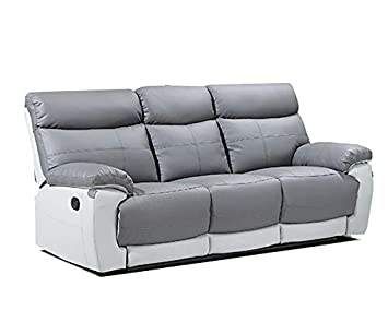 New Reva Leather Reclining Sofa Suite Grey White Recliner Seater