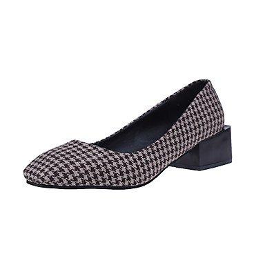 RTRY La Mujer Tacones Zapatos Formales Confort Tela Caída Casual Plaid Caminando Bajo El Talón Café Negro 2A-2 3/4 Pulg. US6.5-7 / EU37 / UK4.5-5 / CN37