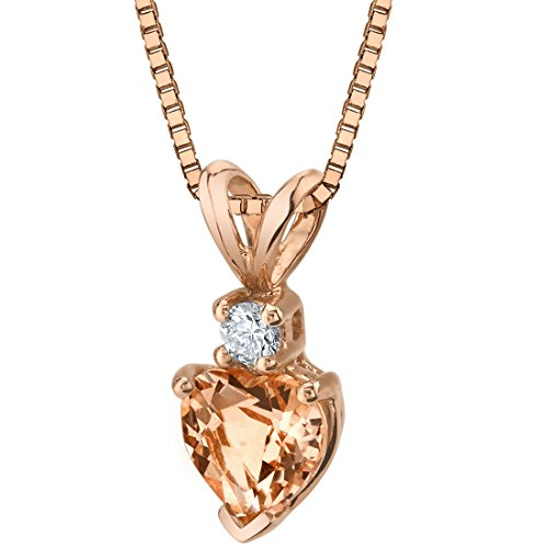 14 Karat Rose Gold Heart Shape 0.75 Carats Morganite Diamond Pendant ()