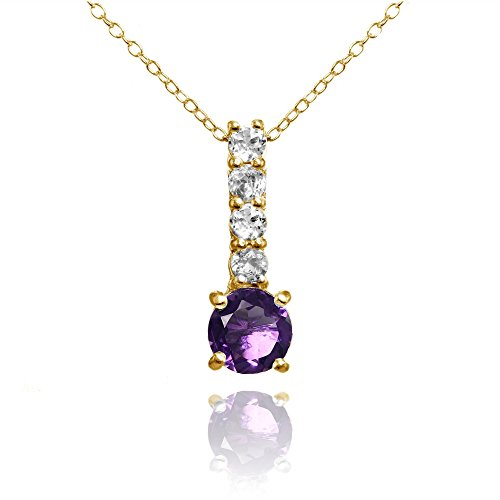 Yellow Gold Flashed Silver African Amethyst & White Topaz 5-Stone Drop Necklace ()