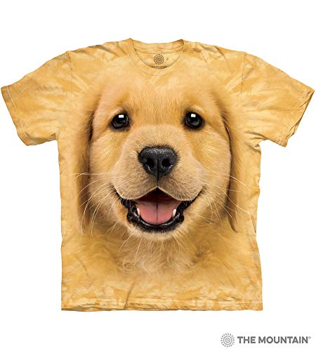 The Mountain Golden Retriever Puppy Adult T-Shirt, Yellow, Large