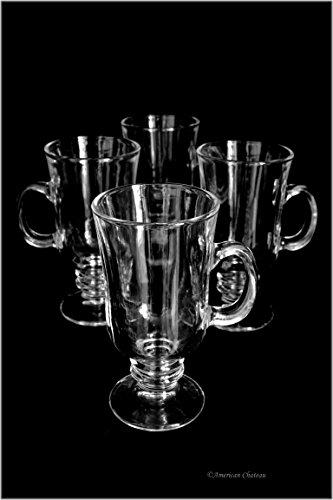 (Set 4 Clear Glass 8oz Mug Footed Irish Glasses Iced Coffee Cups Tea Mugs)