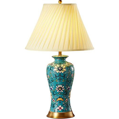 XLTDMF Ceramic Table Lamp, Cloisonne Ceramic Table Lamp Bedroom Bedside Lamp Villa Lamp Marriage Room Home Nostalgic Cloth Table Lamp Lighting Fixtures E27 Lamp Holder 43.173CM ()
