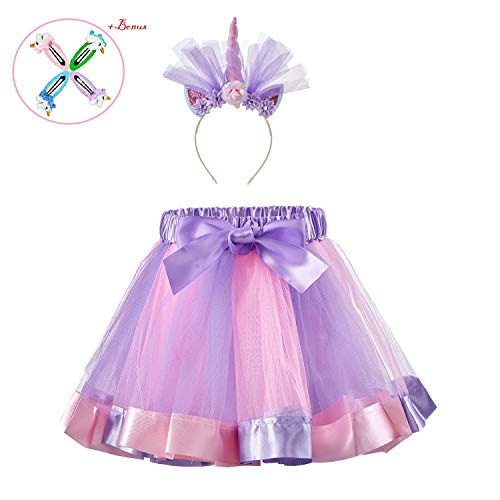 Tutu Dress with Unicorn Headband, Rainbow Mini Tutu Dress with Elastic Waist (Rainbow 5, S,1-3 Years) -