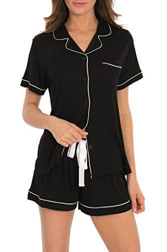Vie De Rêve New York Women's Sleepwear 2 Pc Short Sleeve Pajama Notch Collar Shorts Set/Pajama