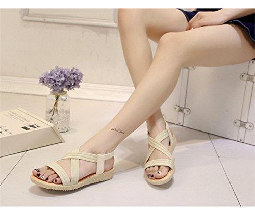 Sandalias del Verano Open Toe Plano Correa Cruzada Zapatillas para Mujer Negro Azul Marrón Rojo Beige 35-41 Beige