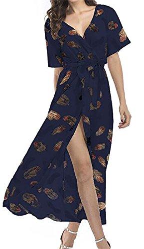 Floral Short Seven Casual Sundress Dress Sleeve Split BLTR Beach Women Summer Maxi x4ATpT