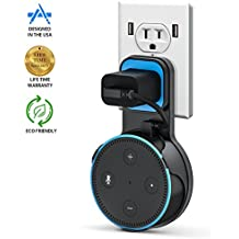 Pomufa Outlet Wall Mount Hanger Stand for Echo Dot 2nd Generation, A Space-Saving Solution for Your Smart Home Speakers without Messy Wires or Screws - Black