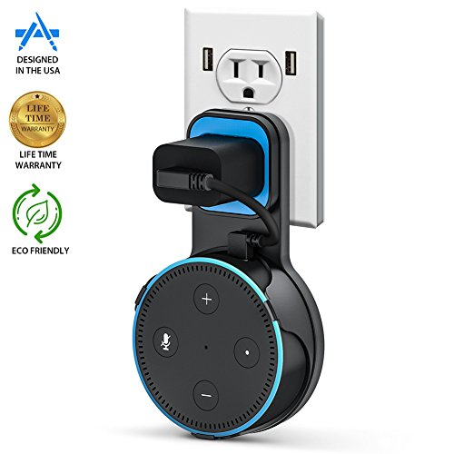 Pomufa Outlet Wall Mount Hanger Stand For Echo Dot 2Nd Generation  A Space Saving Solution For Your Smart Home Speakers Without Messy Wires Or Screws   Black