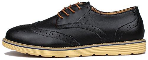Kunsto Men's Leather Brogue Oxford Dress Shoes Lace up US Size 12 Black